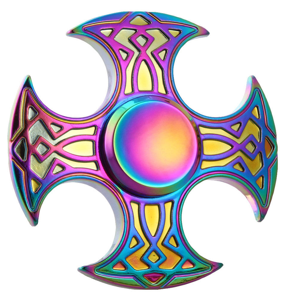 Rainbow Corner Ax Metal Finger Hand Spinner for Autism Adult Stress Relieve Focus Fingertip Toys