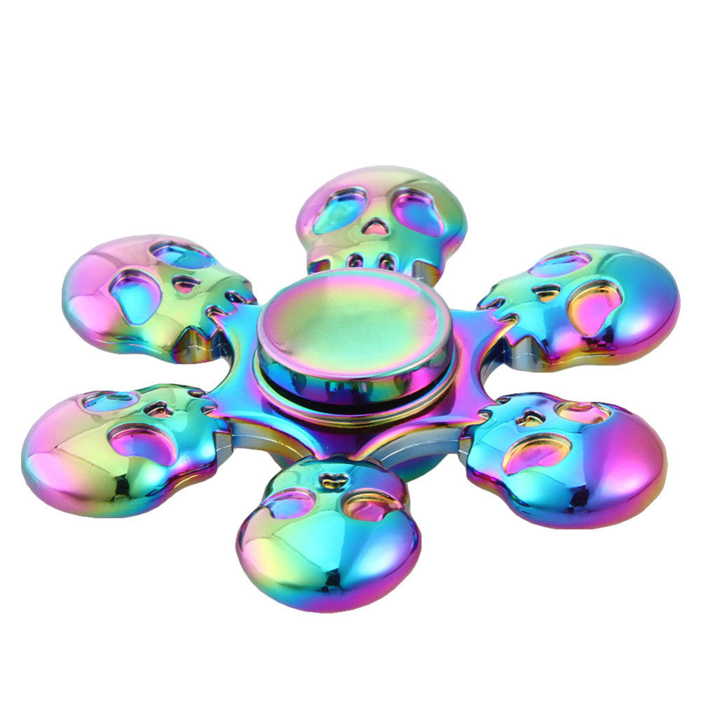 New Rainbow Skull Six Leaves Fidget Arm Hand Spinner For Adult To Reduce Pressure