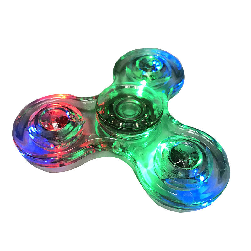Plastic LED Fidget Tri-Spinner Luminous Light Beyblade For Autism ADHD Anxiety Relief