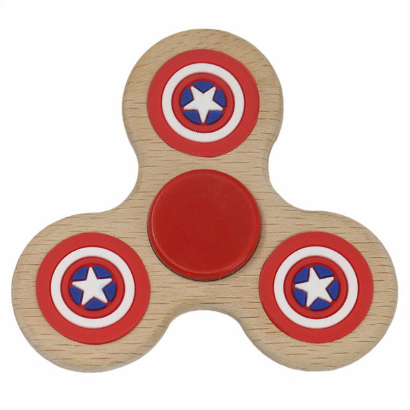 Natural Wooden Glow in The Dark Smile Emoticon Pentagram Shield Hand Spinner Toys