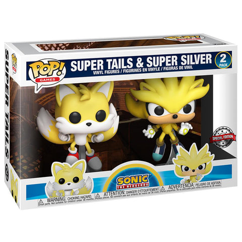 Funko - IN STOCK: Funko POP Games: Sonic- 2 Pack Super Tails & Super Silver With PPJoe Pop Protector