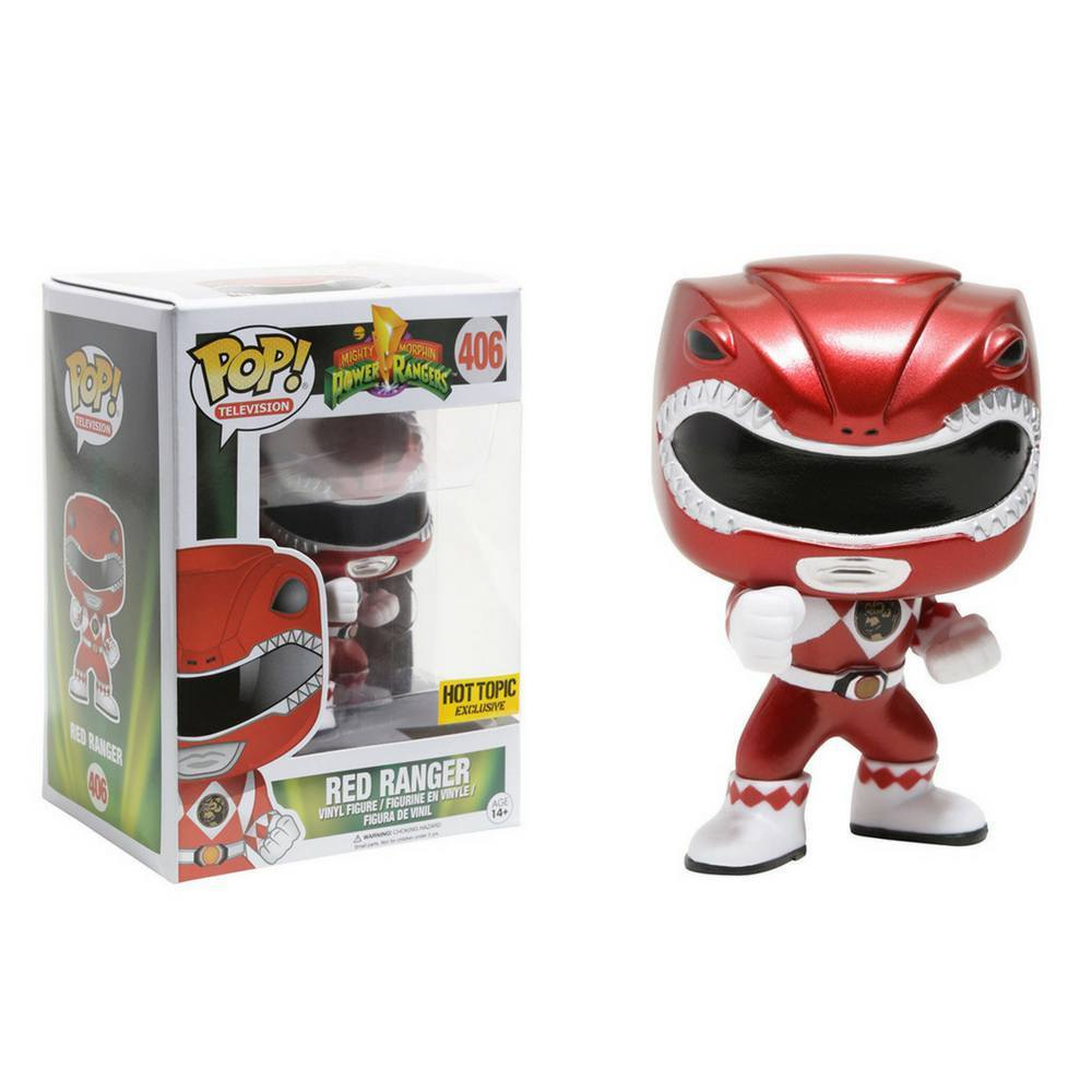 Funko Pop - Funko Mighty Morphin Power Rangers Pop! Television Red Ranger (Metallic) Vinyl Figure Hot Topic Exc #406