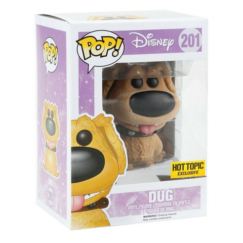 Funko Pop - FUNKO POP! Vinyl: Disney UP Dug FLOCKED Hot Topic Exclusive #201