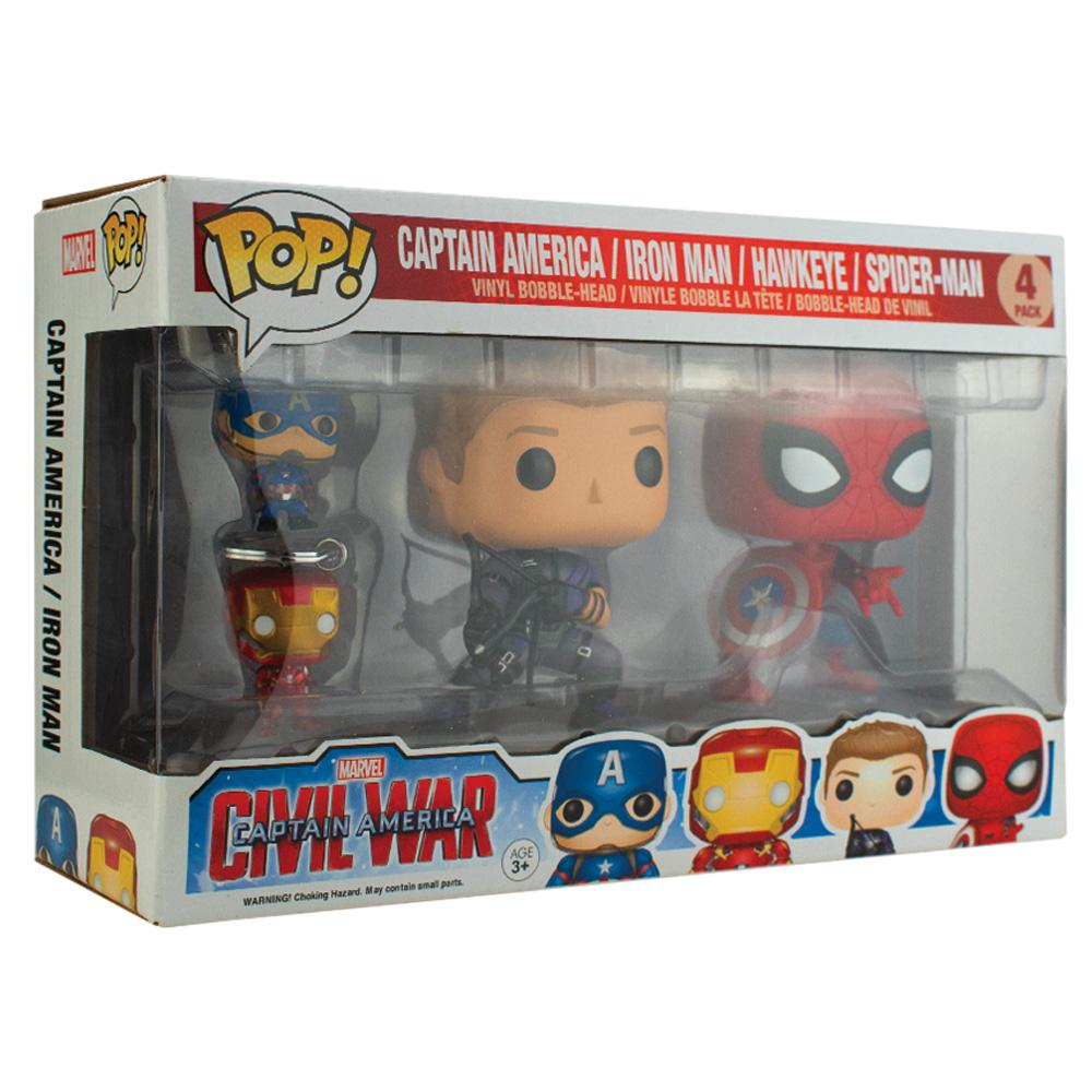 Pop Vinyl Protector - PPJoe Civil War 4 Pack (Key Chain Pack) Pop Protector, Rock Solid Funko Vinyl Protection