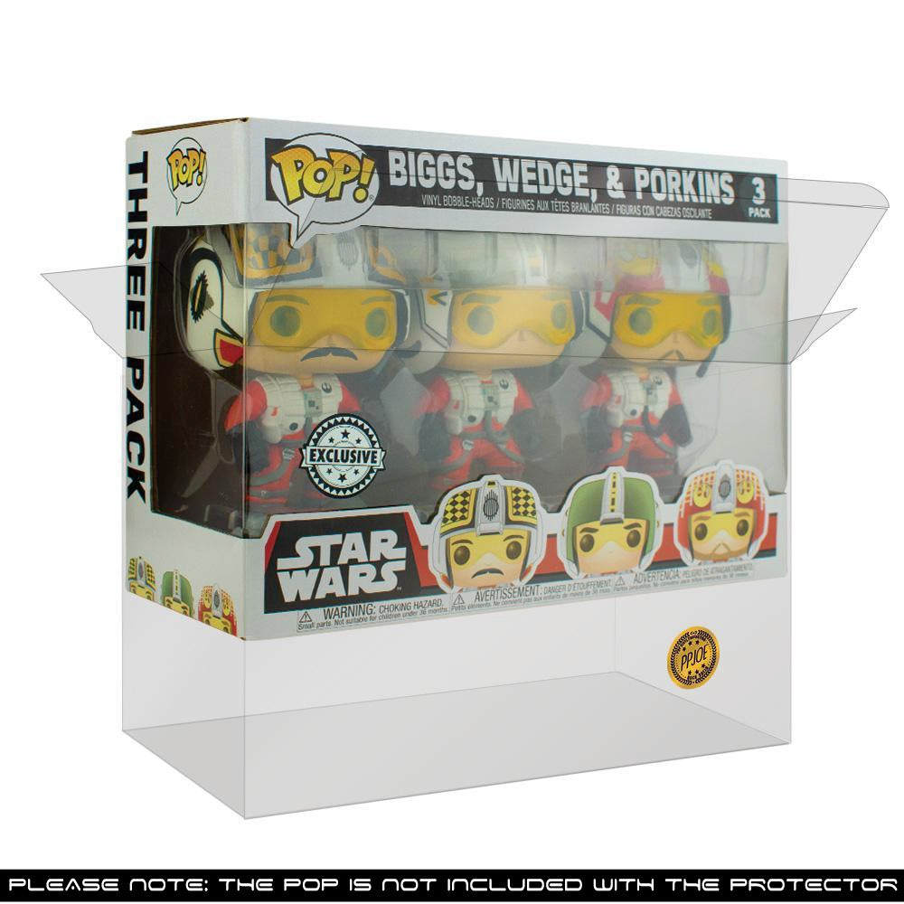 Pop Vinyl Protector - PPJoe Star Wars 3 Pack Biggs/Lobot Pop Protector, Rock Solid Funko Vinyl Protection