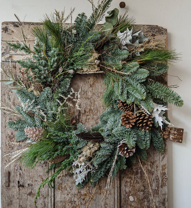 Frosty door wreath