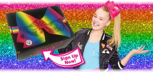 "glitter background with jojo bow box held by jojo siwa with text that reads ""sign up now!"""