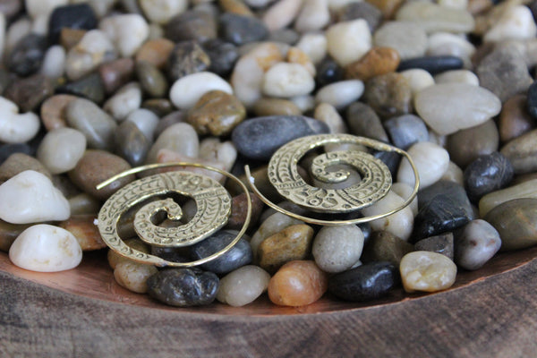 Carved Spiral Earrings