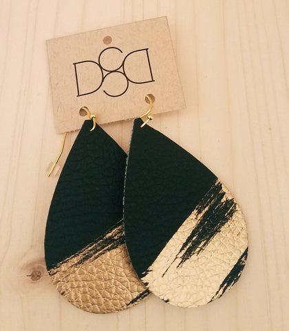 Black Splash Leather Earrings