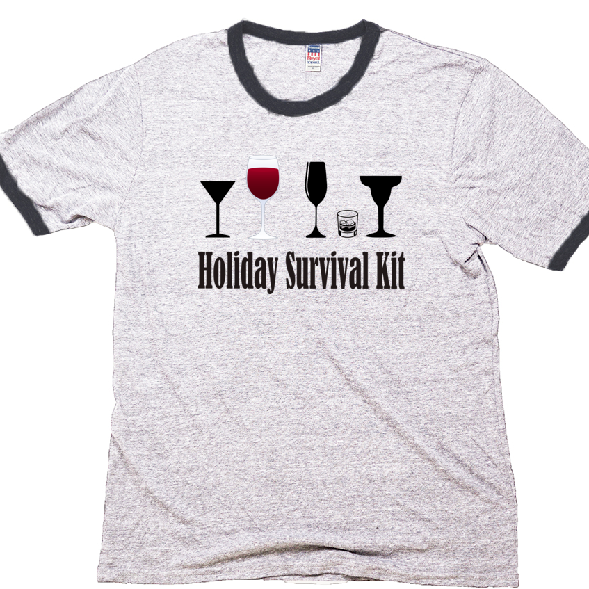 Holiday Survival Kit, Unisex ringer Tee