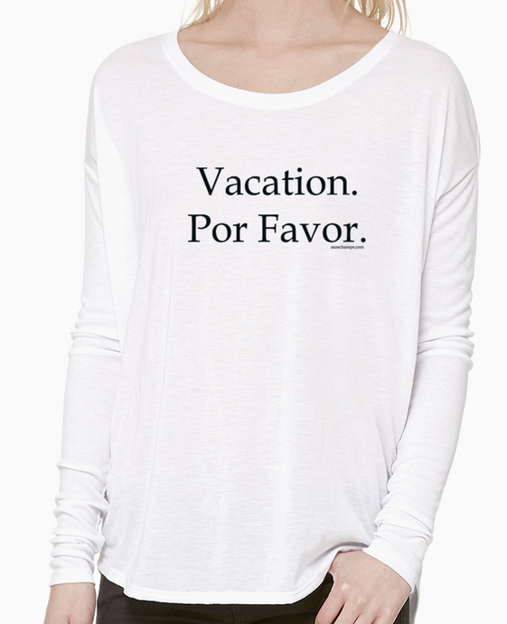 Vacation Por Favor, long sleeve ribbed tee