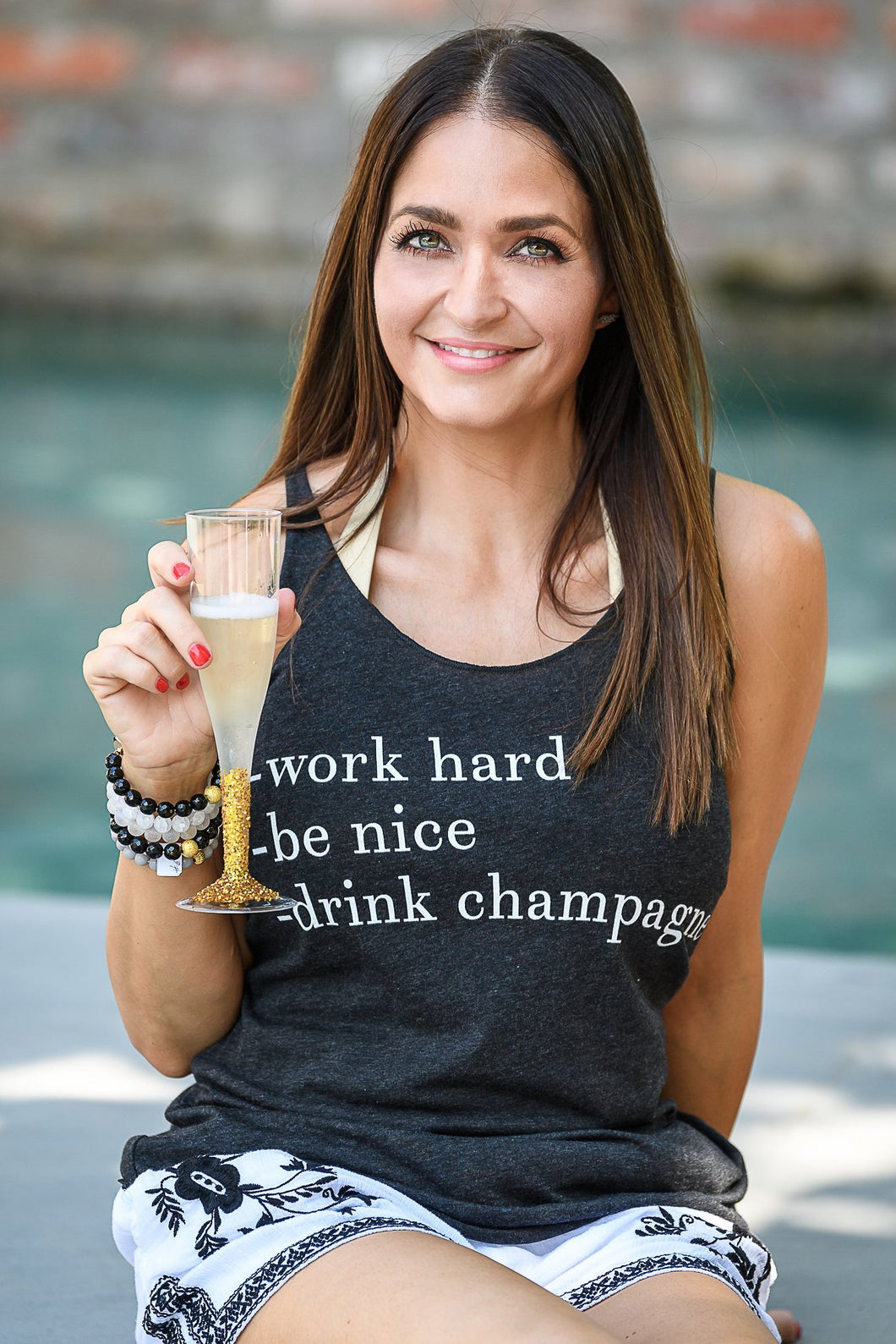 Work Hard, Be Nice, Drink Champagne. Tank