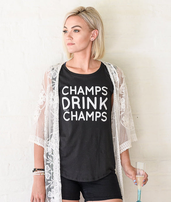Champs Drink Champs, Ladies Cap Sleeve Tee