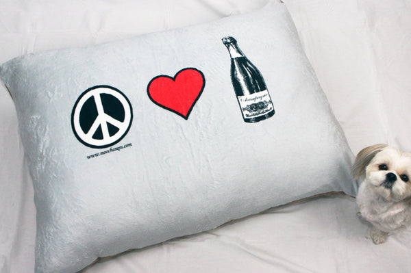 "Dog Bed, Peace, Love and Champagne, 40""x30"", Fluffy, Pillow Top Style Bed"