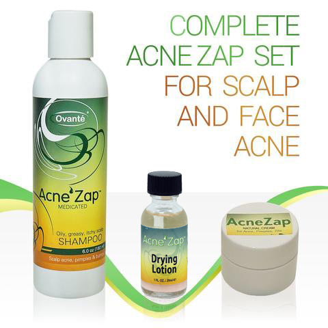 Acne Zap Kit for Face and Head Acne, Ovante Best Acne Kit with Over The Counter Products For Treatment of Scalp and Face Acne. Shampoo, Drying Lotion & Face Cream. <s class='sets'> </s> - ovante