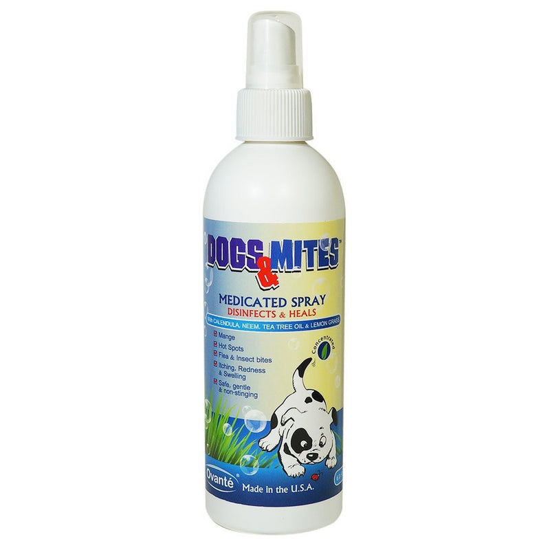 Medicated Spray Dogs n Mites, Treatment of Sarcoptic - Demodectic (Demodex) Mange For Dogs and Puppies With Tea Tree Oil, Neem, Lemon Grass & Calendula Extract - 8.0 OZ <s class='dogs'></s> - ovante