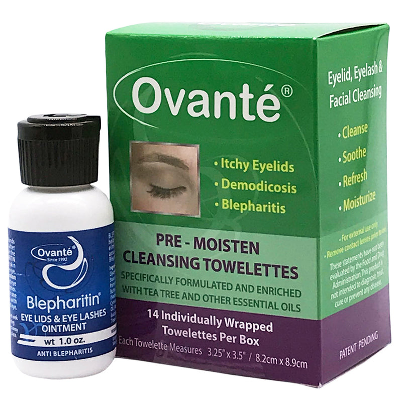 Blepharitin Anti-Blepharitis Ointment | Ovante Therapeutic Cleansing Towelettes  | Complete Kit