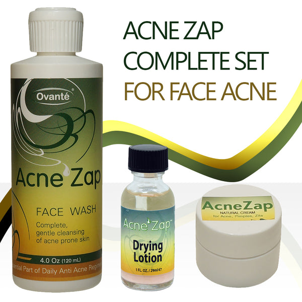 Ovante Acne Zap Daily Regimen, Complete Kit With Medicated Face Wash, Drying Lotion for Spot Treatment, Natural Sulfur Cream - Complete Set of Acne Products  <s class='sets'> </s> - ovante