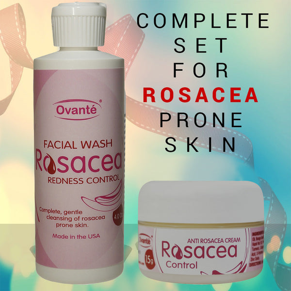 Ovante® Rosacea & Redness Control Set of Products Against Rosacea and Red Vessels on Face, Itching & Burning of Facial Skin Due to Rosacea & Couperosis. - ovante