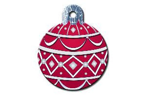 Red Ornament Dog ID Tag