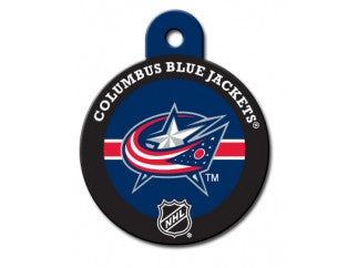 Columbus Blue Jackets Round Hockey Puck Dog ID Tag