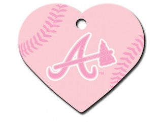 Atlanta Braves Pink Heart Dog ID Tag