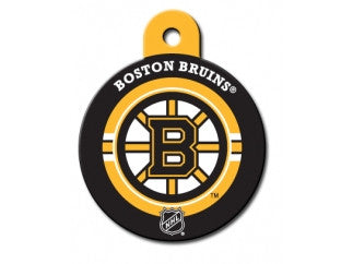 Boston Bruins Round Hockey Puck Dog ID Tag
