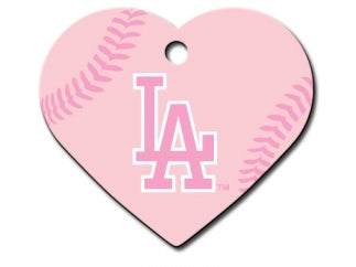 LA Dodgers Pink Heart Dog ID Tag