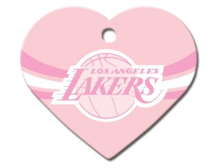LA Lakers Pink Heart Dog ID Tag