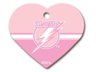 Tampa Bay Lightning Pink Heart Dog ID Tag