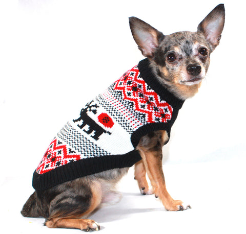 Moose Lodge Holiday Dog Sweater