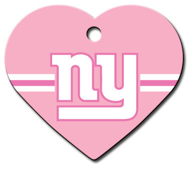 New York Giants Pink Heart Dog ID Tag