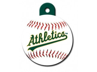 Oakland Athletics Round Baseball Dog ID Tag