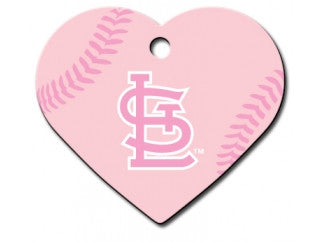 St. Louis Cardinals Pink Heart Dog ID Tag