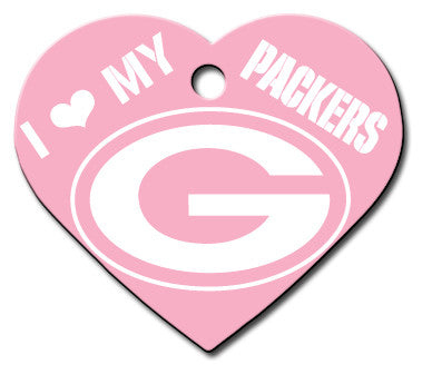 Green Bay Packers Pink Heart Dog ID Tag
