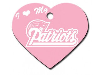 New England Patriots Pink Heart Dog ID Tag