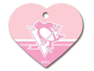 Pittsburgh Penguins Pink Heart Dog ID Tag