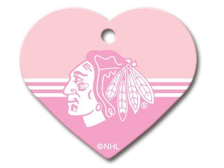 Chicago Blackhawks Pink Heart Dog ID Tag