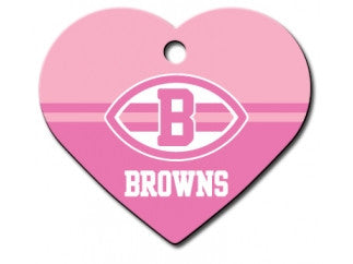 Cleveland Browns Pink Heart Dog ID Tag