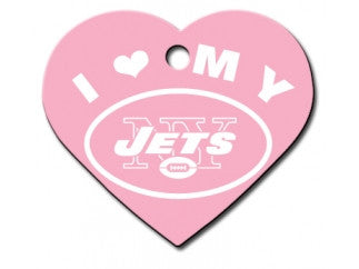 New York Jets Pink Heart Dog ID Tag
