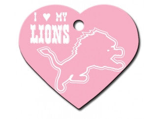 Detroit Lions Pink Heart Dog ID Tag