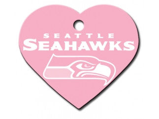 Seattle Seahawks Pink Heart Dog ID Tag