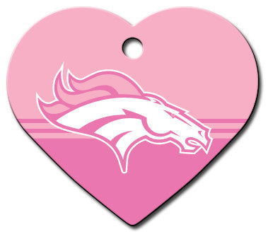 Denver Broncos Pink Heart Dog ID Tag