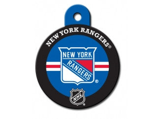 New York Rangers Round Hockey Puck Dog ID Tag