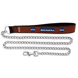 Seattle Seahawks Leather and Chain Dog Leash