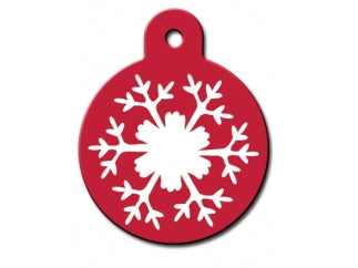 Red Snowflake Dog ID Tag