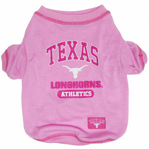 Texas Longhorns Pink Dog T-Shirt