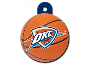 Oklahoma City Thunder Round Basketball Dog ID Tag