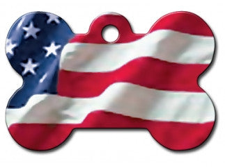 USA American Flag Dog ID Tag