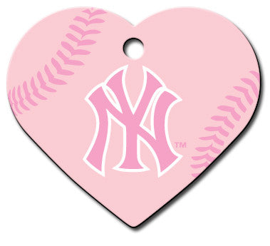 New York Yankees Pink Heart Dog ID Tag